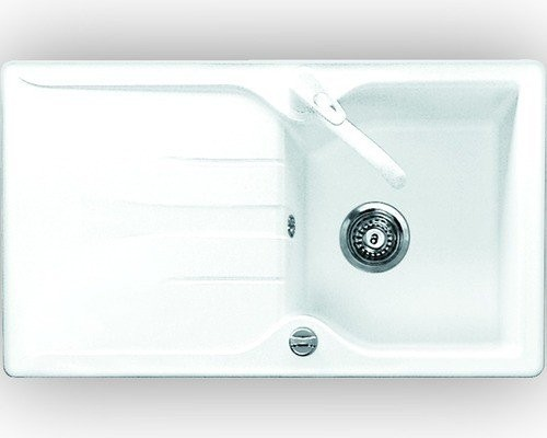 Eurodomo Einbauspüle Meridian 100, Granit weiß, Excenterventil