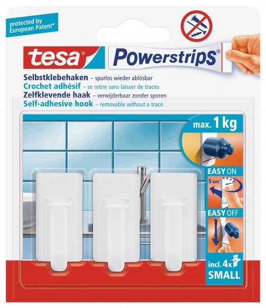 tesa Powerstrips® Haken Small, Classic, weiß, 3 Stück