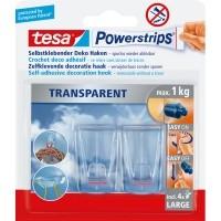 tesa Powerstrips® Transparent Deko-Haken Large, 2 Stk.