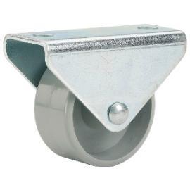 Bockrolle mit Kunststoffrad ø 25 mm, Stahlblech verzinkt,Kunststoffrad grau