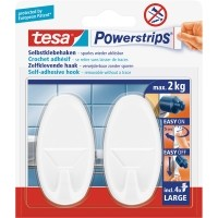 tesa Powerstrips® Haken Large, Oval, weiß, 2 Stück