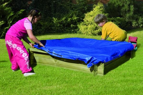 Abdeckplane für Sandkasten DANI 120 x 120 PE- Gewebe 160 g/m² blau, mit elast.Kordel