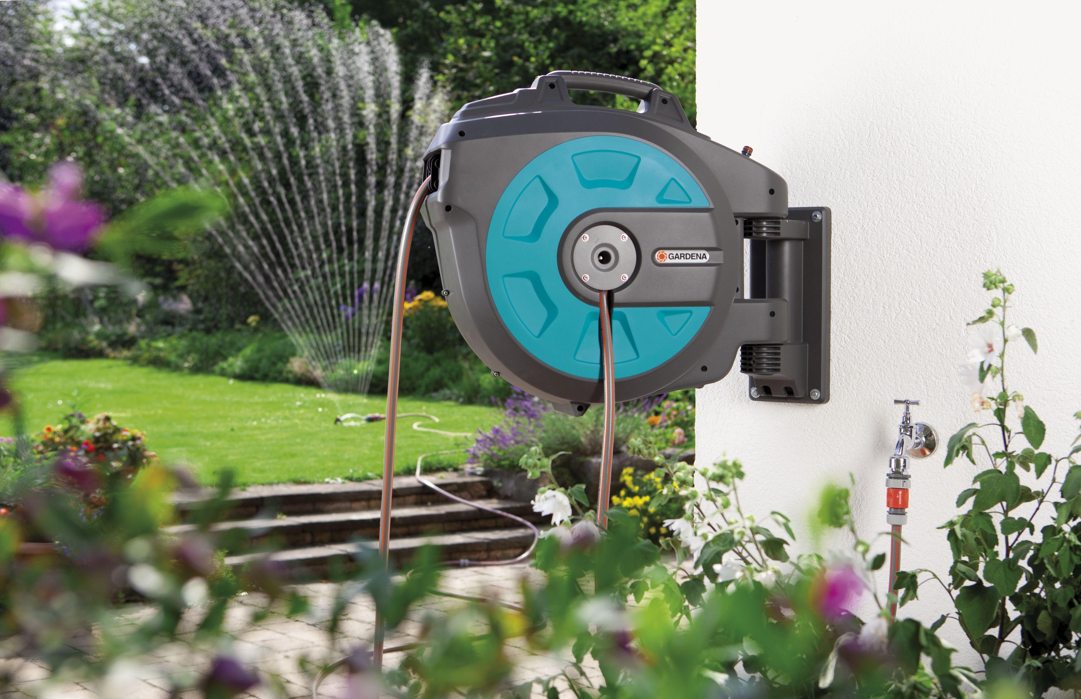 gardena wand schlauchbox 35 roll up automatic li zubeh r bew sserungstechnik garten. Black Bedroom Furniture Sets. Home Design Ideas