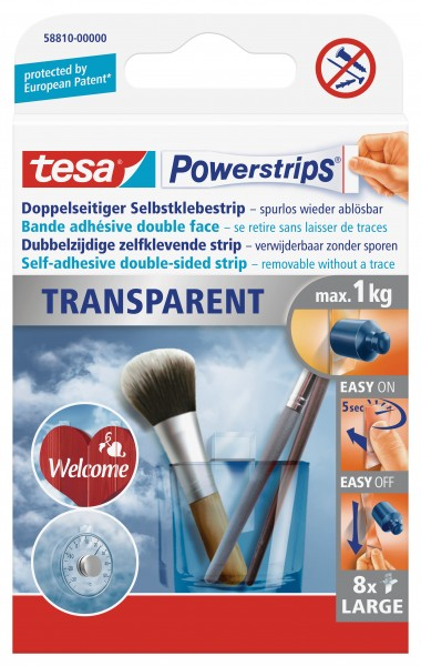tesa Powerstrips® Transparent Large, 8 Strips