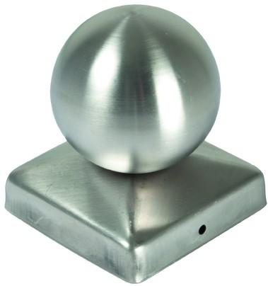 Pfostenabdeckung aus Metall 9 x 9 cm Kugel Edelstahl