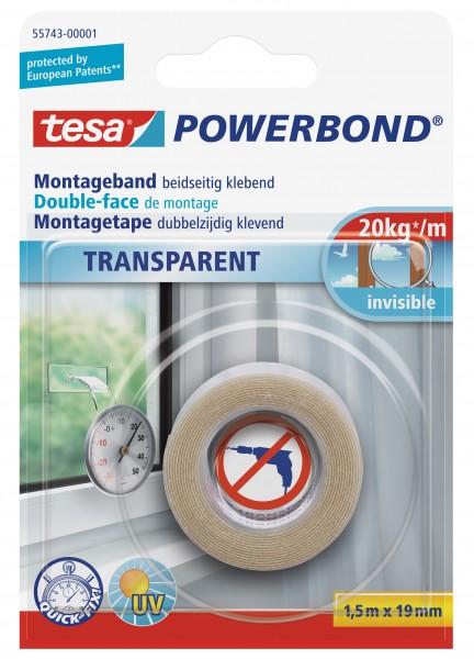 tesa Powerbond Montageband Transparent, 1,5m x 19mm