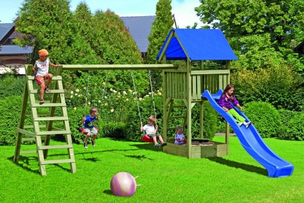 LUKAS Spielanlage grün aus 7 x 7 Kreuzholz B 470 x T 190 x H 296 cm mit Kletterschaukelanbau, ohne W
