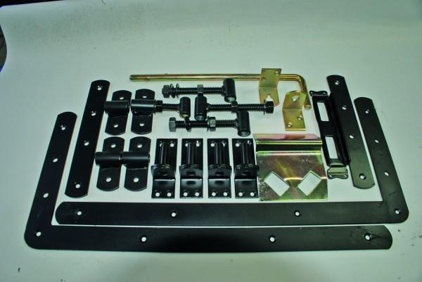 Doppeltor-Beschlag, matt schwarz mit L-Band & Überwurfbeschlag, für Torbreiten bis 300 cm