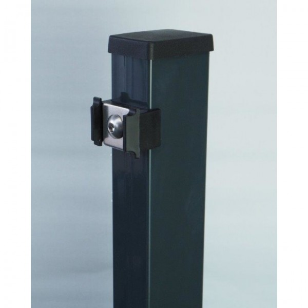 Multi-Pfosten mit Vierkantscheibe, RAL 7016 anthrazit, f. Zaunhöhe 1830 mm