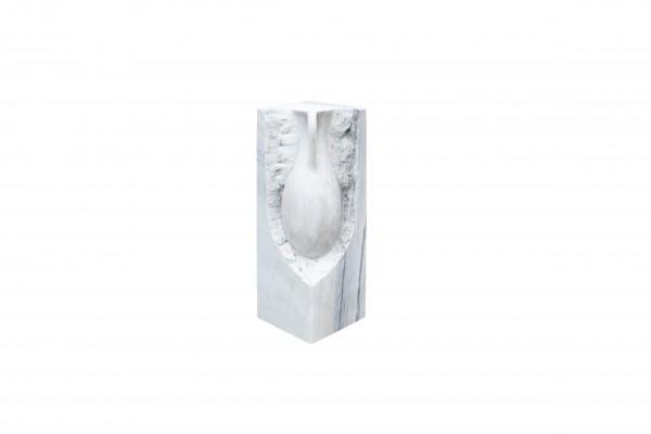 Vase 1/2, Marmor white/grey, gebohrt 60 cm