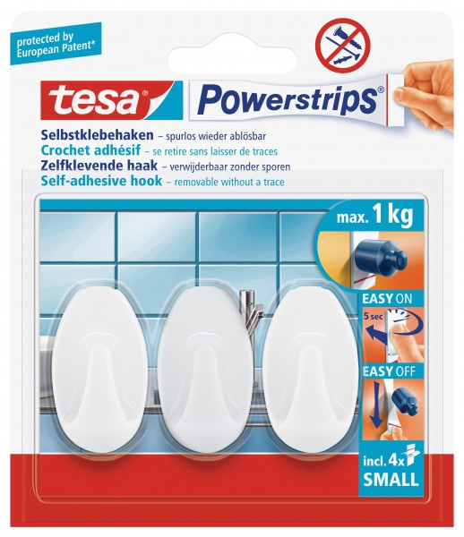 tesa Powerstrips® Haken Small, Oval, weiß, 3 Stück