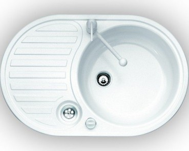 Eurodomo Einbauspüle Single 2, Eurostone, Granit Weiß