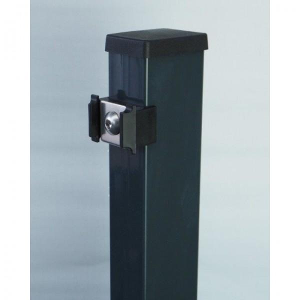 Multi-Pfosten mit Vierkantscheibe, RAL 7016 anthrazit, f. Zaunhöhe 2430 mm
