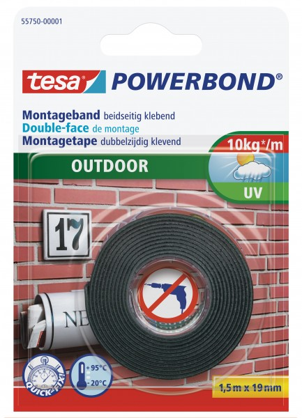 tesa Powerbond Montageband Outdoor, 1,5m x 19mm