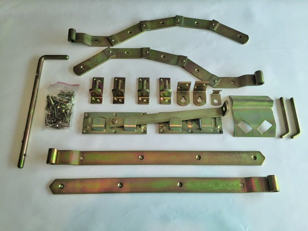 Beschlag f. Doppeltor gebogen Überwurfbeschlag, gelb verzinkt für Torbreiten bis 300 cm