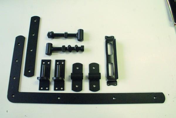 Einzeltor-Beschlag, matt schwarz mit L-Band & Überwurfbeschlag, für Torbreiten bis 100 cm