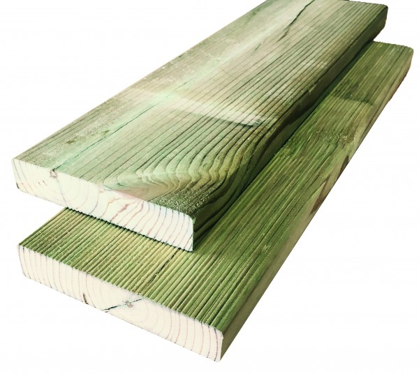 Konstruktionsholz grün 28 x 145 x 2000 mm einseitig geriffelt