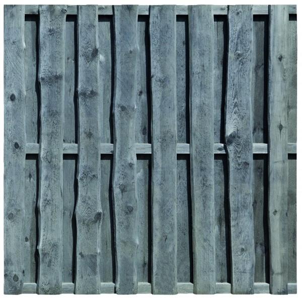 FALSTER-Serie, grau imprägniert 180 x 180 cm, sägerauh Bretter 16 x 110/160 mm, Riegel 30/60 mm