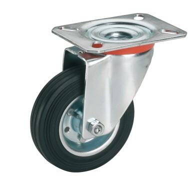 Vollgummi-Lenkrolle mit Rollenlager 125 x 37 mm/Platte 100 x 85 mm