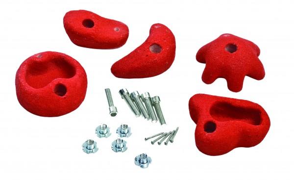 Klettersteine rot, 5 Steine/ Set