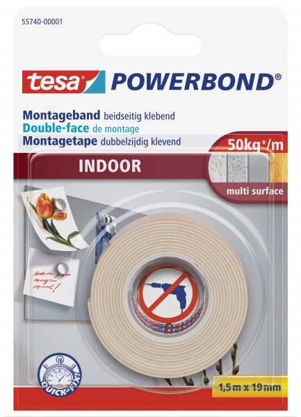 tesa Powerbond Montageband Indoor, 1,5m x 19mm
