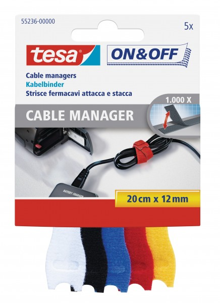 tesa® ON & OFF Kabelbinder, bunt, 5 Stück, 20cm x 12mm
