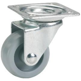 Lenkrolle mit Kunststoffrad ø 25 mm, Stahlblech verzinkt, Kunststoffrad grau