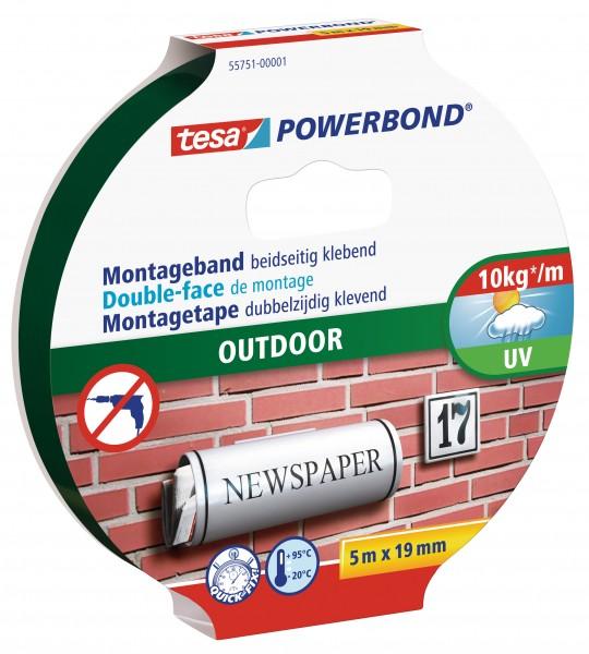 tesa Powerbond Montageband Outdoor, 5m x 19mm