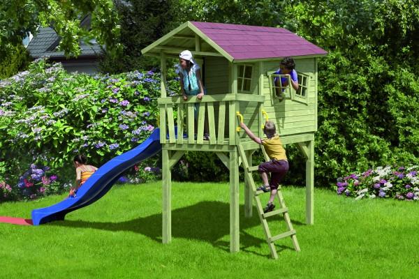 CRAZY BENNY Kinderspielhaus Pfosten 9x9 cm, Podesthöhe 145 cm B 150 x T 240 x H 300 cm, ohne H-Träg