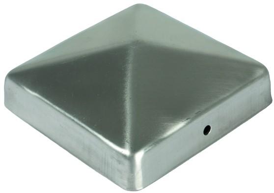 Pfostenabdeckung aus Metall, 9 x 9 cm Pyramide Edelstahl