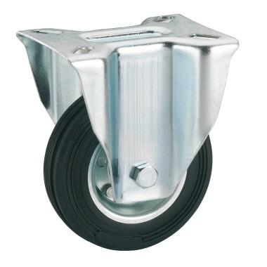 Vollgummi-Bockrolle mit Rollenlager 80 x 25 mm/Platte 100 x 85 mm