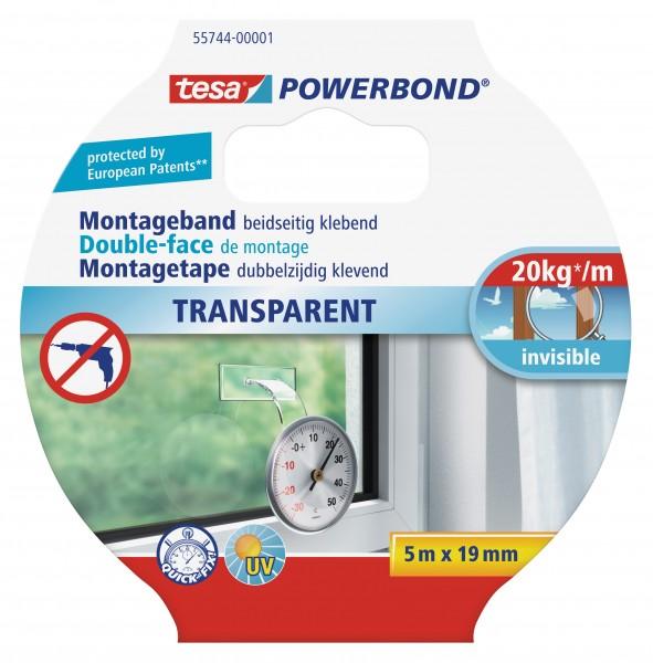 tesa Powerbond Montageband Transparent, 5m x 19mm