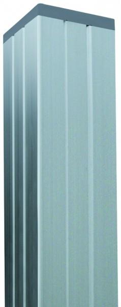 Aluminium-Pfosten für Steckzaunserien SILBER, 68 x 68 x 1800 mm inkl. Schienen, Kappe und Abstandhal