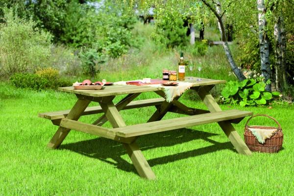 ELLA Picknicktisch rechteckig B 180 x T 170 x H 75 cm Sitzbohlen 40 mm stark