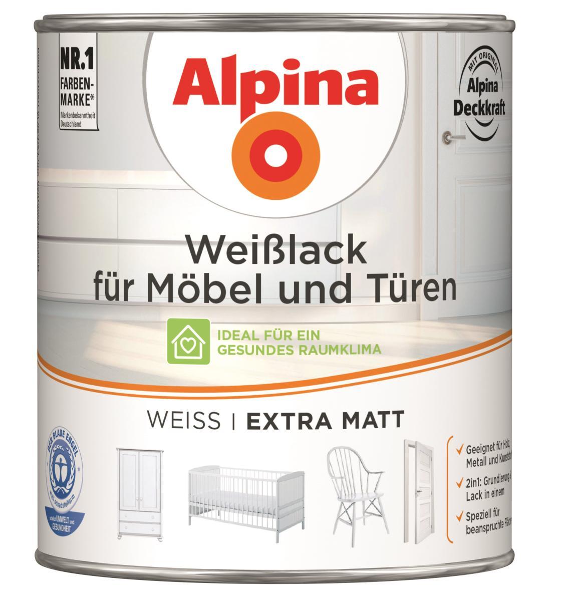 alpina wei lack f r m bel t ren extra matt 750 ml alpina lacke farbwelten l cken24. Black Bedroom Furniture Sets. Home Design Ideas