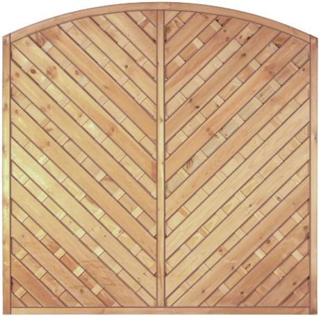 Maxi-Diagonal-Bogen-Serie grün 180 x 180/160 cm Rahmen 45/45 mm, Lamellen geriffelt & geschraubt