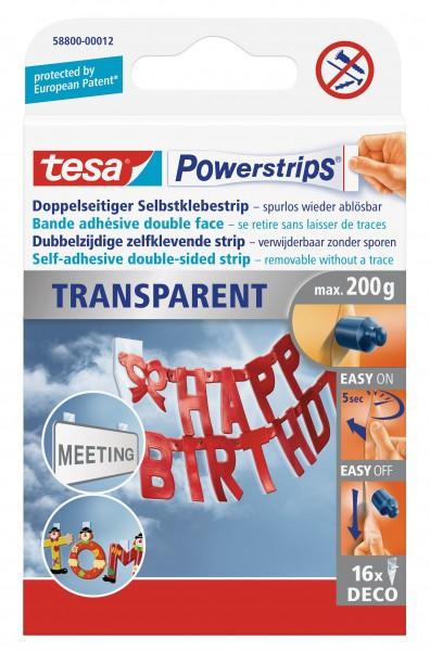 tesa Powerstrips® Transparent, 16 Strips