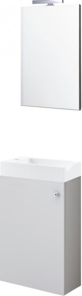 Badmöbel- Set, Waschtischunterschrank, Waschtisch, Spiegel, LED- Leuchte, Calanda