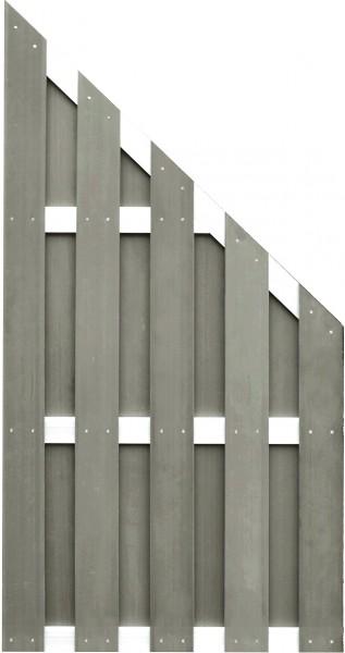 JINAN-Serie ECKE braun 90 x 180/90 cm, WPC-Bretterzaun Querriegel ALU anodisiert